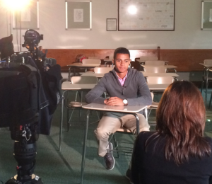 "Derek DaSilva being interviewed for NECN's ""Making the Grade."""