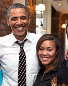 Jasmine Hicks '00 with President Obama